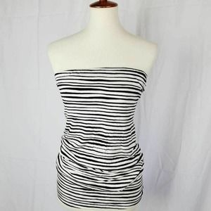 Lane Bryant Striped Strapless Ruched Plus 26/28